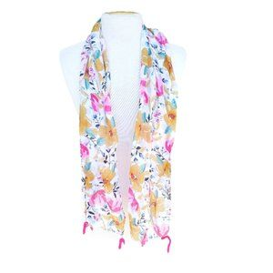 Whimsical Tasseled Floral Light Weight Scarf